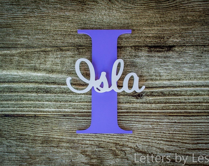 Nursery Name Sign Capital Letter Baby Name Plaque Personalized Nursery Baby Name Wall Hanging Nursery Wooden Wall Art, Baby Girl Nursery