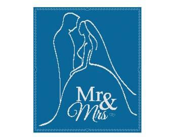 Wedding Cross Stitch, Mr & Mrs Cross Stitch Pattern, Counted Cross Stitch, Cowbell Cross Stitch, Instant Download PDF