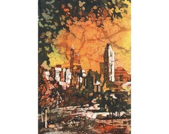 Batik painting of downtown Raleigh, NC skyline.  Raleigh art.  Watercolor Raleigh.  Raleigh painting.  Watercolor landscape batik fine art