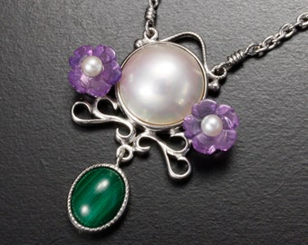 SALE: Amethyst flower mabe pearl pendant necklace, silver pendant necklace