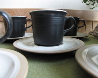 Franciscan Gourmet Cups and Saucers by Interpace California Pottery 1971 Discontinued Set of Five (5) Vintage Dinnerware and Replacements