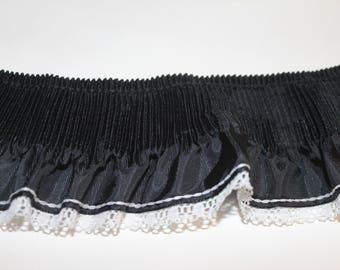 Pleated black satin ruffled trim remnant