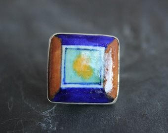 Handcrafted Ceramic Ring set in Sterling silver