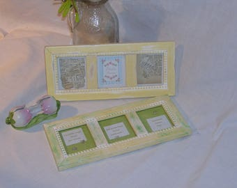 Two spring-fresh alternating frames for three small pictures each