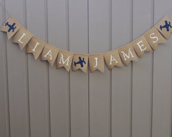 Personalized Baby Name Banner, Airplane Nursery,  Airplane Banner, Airplane Baby Shower Decor, Burlap Banner Bunting, Airplane Birthday