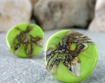 green, large stud earrings//boho stud earrings//alternative earrings//marble effect, lime green earrings//mismatched studs