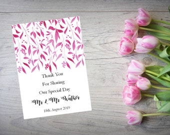 Personalised Wedding Thank You Cards with Matching Envelopes Pack Of 10 TY90
