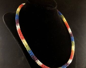 Rainbow Viking Weave Necklace