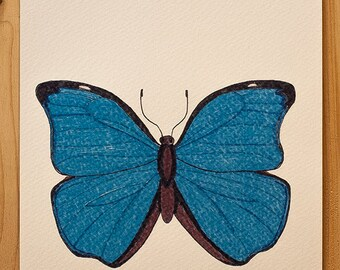 """Nature illustration """"Blue Morpho"""" tropical butterfly"""