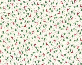 Reindeer and Trees in Cream from the Under the Christmas Tree 2017 Collection by Lecien, Choose the Cut, Christmas Fabric, Holiday