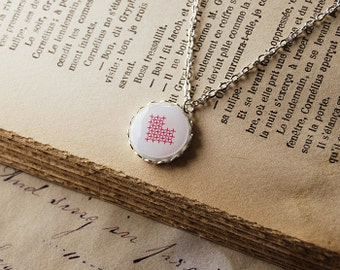 Necklace Red Heart, Valentine's Day - Cross Stitch Heart