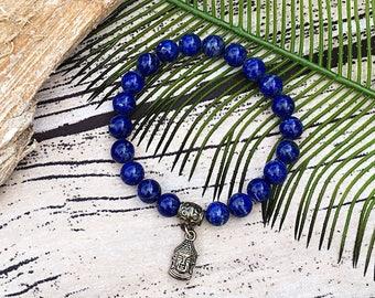 Handcrafted jewelry, Stretch layering bracelets, Buddha bracelet, Sodalite bracelet