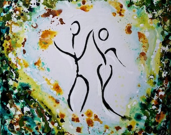 DANCE WITH ME -Abstract Painting Original Art Modern Contemporary Figures People Green Home Decor Canvas Acrylic Texture