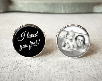 I Loved You Fist Cufflinks, Gift for Father Of The Bride Cufflinks, Personalized Cufflinks, Wedding Cuff links, Custom Photo Cufflinks