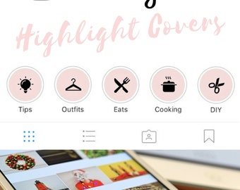 Instagram Stories Highlight Covers in Light Pink Colour - Set of 20