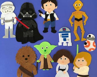 Star Wars, Luke Skywalker, Princess Leia, Darth Vader and 6 others Felt Board pieces, PDF PATTERN ONLY