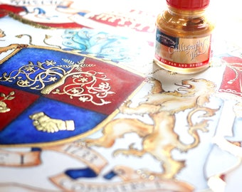 Deposit for a custom coat of arms or custom family crest  - custom handpainted heraldry watercolor art with gold leaf * Let's get started! *