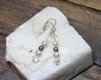 White Freshwater Pearl, Faceted Crystal Earrings, Sterling Silver, Bridal Jewelry, Wedding Earrings, Gifts for her E2279