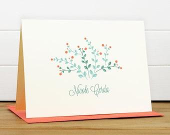 Personalized Stationery Set / Personalized Stationary Set - MEADOW Custom Personalized Note Card Set - Feminine Flower Pretty
