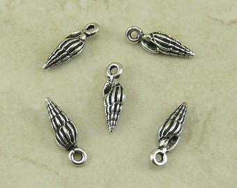 5 TierraCast Small Spindle Shell Charms > Ocean Beach Seashell Summer - Silver Plated LEAD FREE Pewter - I ship internationally 2234