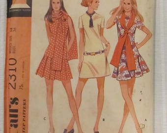 McCall's 23310 Size 14  Long Torso Dress with Circle Skirt, Swing Dress, 1970 Retro Sewing Pattern Vintage