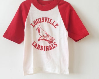 louisville cardinals baseball raglan velva-sheen youth size 4 deadstock