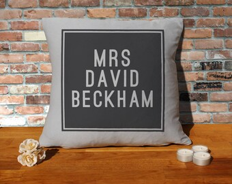 David Beckham Pillow Cushion - 16x16in - Grey