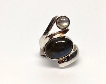 Labradorite Swirl Ring, Sterling Silver Size 6