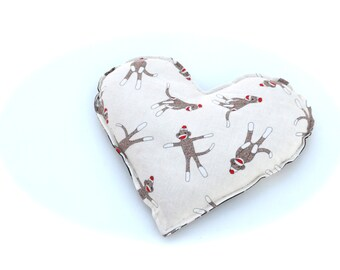 Sock Monkey Flannel Heat  Pack, Spa and Relaxation Gift.  Microwavable Aromatherapy Heating Pad