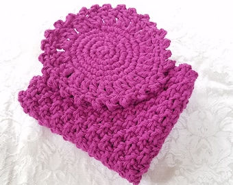 Purple Washcloth Set, Crochet Knit Cloth, Home Decor, Handmade Gift, For Face And Body, Cotton Washcloth Set, For Kitchen And Bath