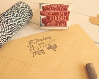 Whimsical State Stamp, Hand Drawn Calligraphy-Inspired Return Address Stamp