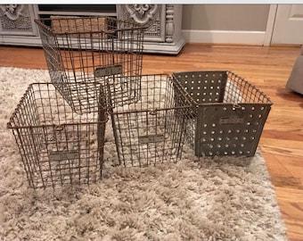 Vintage Locker Baskets LOT of 4