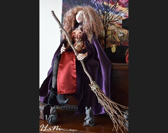 OOAK Sarah the witch art cloth doll