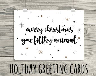 Printable Greeting Cards, Funny Instant Download Holiday Cards, Christmas Cards, 6.25 x 4.5 A6 Cards, Humorous DIY Christmas Cards