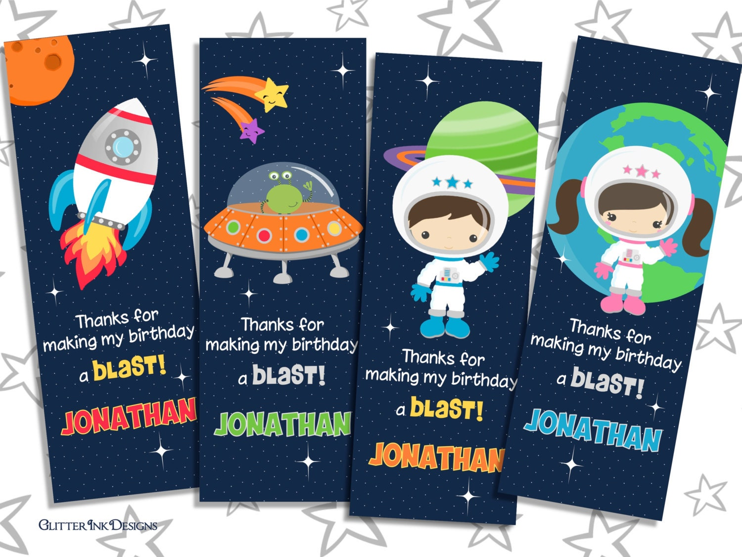 Space Rocket Party Pdf Printable PERSONALIZED Outer Space