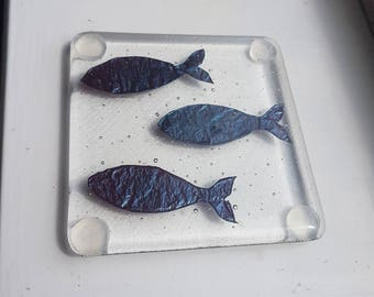 Fish Coasters - Fused Glass and Copper - Handmade