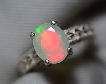 Opal Ring, 1.86 Carat Solid Faceted Opal Ring Appraised at 1,100.00, Sterling Silver, Genuine Opal Jewellery, October Birthstone, Size 7