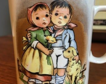 Vintage Hummel Style Mug, Made in Japan, Little Boy and Girl with Lamb