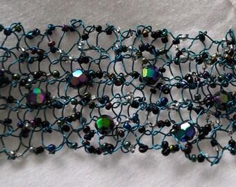 Hand Knitted Bracelet / OOAK bracelet /  ladies wire bracelet / knitted jewellery / beaded bracelet / mothers day gift / hand made bracelet
