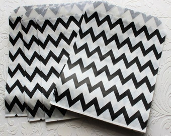 Black and White Zig Zag Chevron Paper Bag- Gift Bag, Notion Bag, Party Favor, Party Supply, Shop Supply, Treat Bag, Merchandise Bags