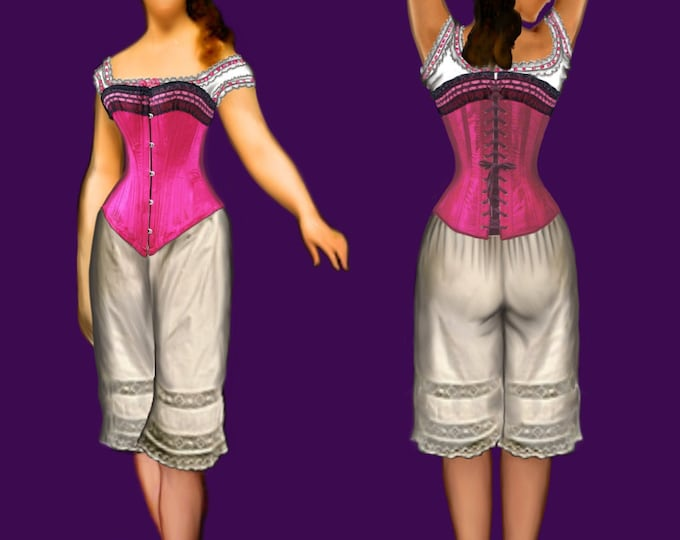Corset (period 1880) small size pattern, PDF file in A4 pages