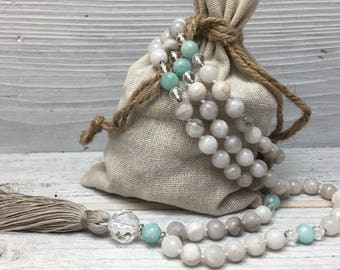 Serenity Healing Mala - 108 Silver Lace Agate, Amazonite, & Crystal Quartz