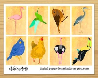 Bird Gift Tags, Flamingo Gift Tag, Hummingbird Gift Tag, Robin GiftTag, Heron Gift Tag, Toucan Gift Tag, Songbird Gift Tag, Digital Download