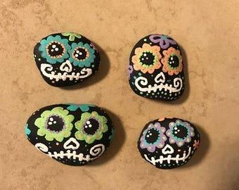 Hand-Painted Sugar Skull Rock Magnets
