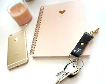 Metallic Black Leather Key Fob, Leather Key Holder, Monogram Keychain, Personalized Keychain, Custom Key Chain, Key Fob Monogram