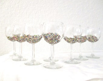 Bead Encrusted Wine Glasses, S/8