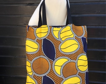 African fabric tote bag, shopping bag, market shoulder bag with internal pocket, lovely coffee bean print, handmade