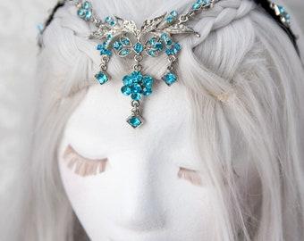 Elven Circlet   Turquoise Temptress   Fantasy Cosplay, Rhinestone Headband, Fairytale Wedding, Fairy Crown, Renaissance Headpiece
