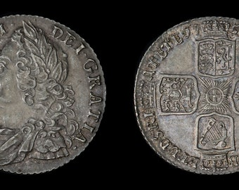 Vintage English Antique Coin Genuine George II Solid Silver Shilling 1758, British, Georgian