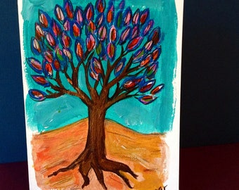 Tree of Life Card, Hand Painted Card, Tree Art, Tree of Life Painting, Jewish gifts, Jewish Cards, Handmade Card, Original Painting, Artwork